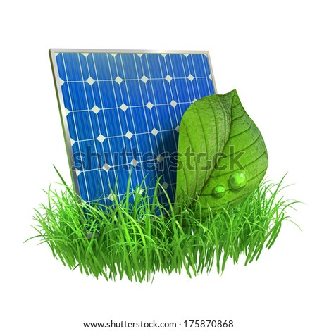 Solar panel and leaf  - stock photo