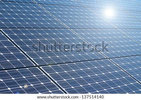 solar panel and renewable energy - stock photo