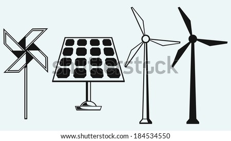 Solar panel and windmill. Isolated on blue background. Raster version - stock photo