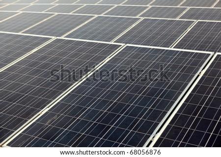 Solar panel array - stock photo
