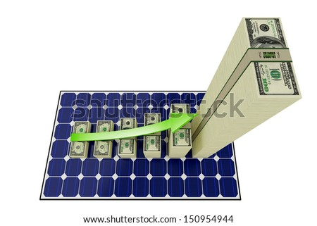 Solar Panel - Bar graphs made from Dollar banknotes - stock photo