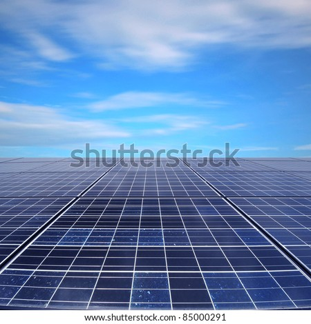 Solar panel beneath the sky - stock photo