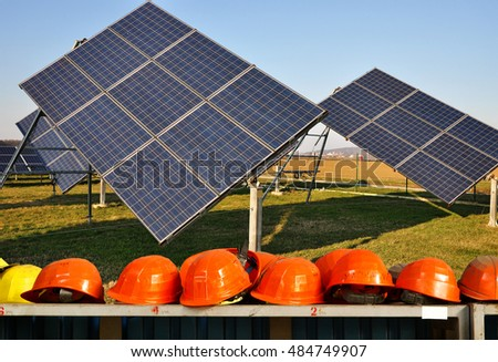 Solar panel construction site, Photovoltaic industry