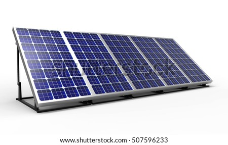 Solar panel, 3D rendering on white background