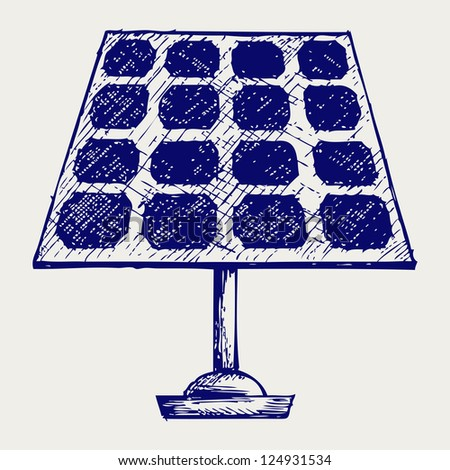 Solar Panel. Doodle style. Raster version - stock photo