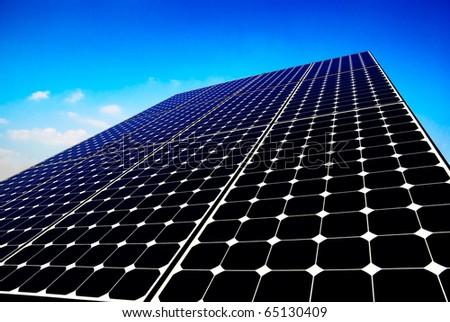 Solar panel energy, photovoltaic sun power - stock photo