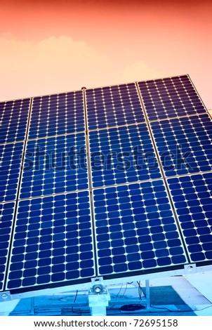 Solar panel energy, renewable sun power - stock photo
