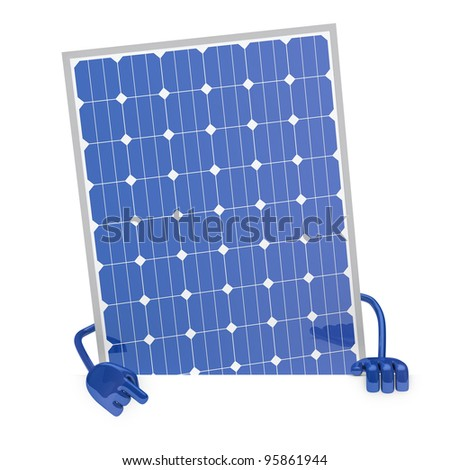 solar panel figure behind a white wall
