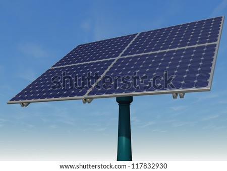 Solar panel for a blue sky with clouds. 3d illustration.