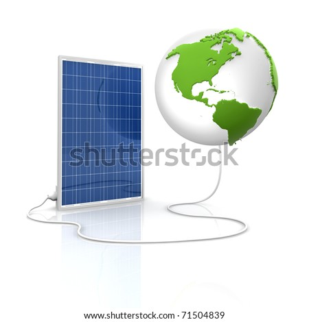 Solar panel for green and renewable energy. Save the world with photovoltaic and alternative energy. View of America.