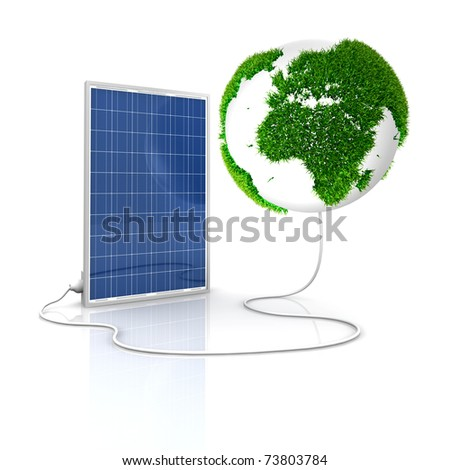 Solar panel for green and renewable energy. Save the world with photovoltaic and alternative energy. Europe and Africa view  with grass surface.