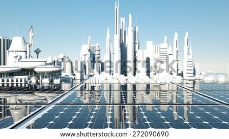 solar panel, free energy, green energy - stock photo