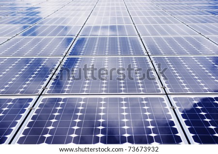 Solar panel frontal view. - Clean, green energy. - stock photo