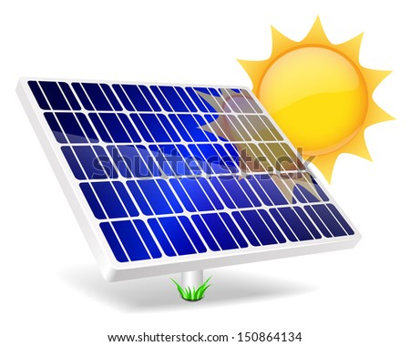 Solar Panel icon. Green energy, ecology concept.