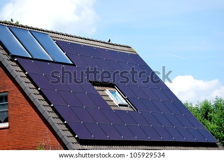 Solar panel in lilac - stock photo