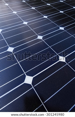 Solar Panel in vertical layout, self installation model for house electricity - stock photo