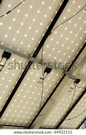 Solar panel installation, work, photovoltaic energy - stock photo