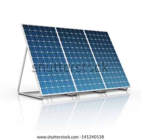 solar panel isolated on white - stock photo
