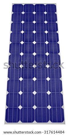 Solar panel Isolated on white background Clipping Path - stock photo