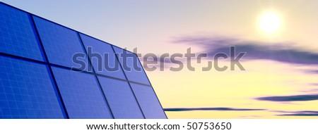solar panel on a sunny sky - stock photo