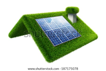 solar panel on grasss roof isolated on white. clipping path included - stock photo