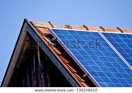 Solar panel on old barn