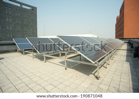 solar panel on the roof. Power Industry - stock photo