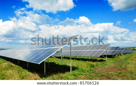 Solar panel produces green, enviromentally friendly energy from the sun.