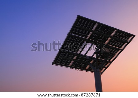 solar panel silhouette with beautiful sunset