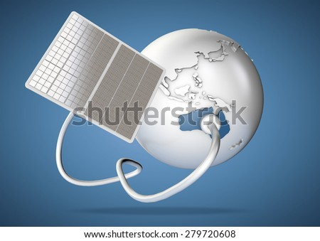 Solar panel supplies power from the sun to Australia. Concept for green power sources and energy supply to the world. - stock photo
