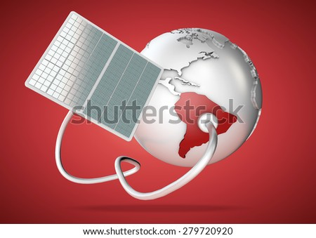 Solar panel supplies power from the sun to South America. Concept for green power sources and energy supply to the world. - stock photo