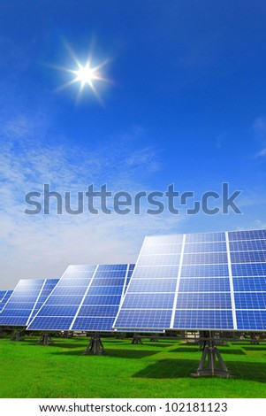 Solar panel system ,blue sky and sunshine with green grass