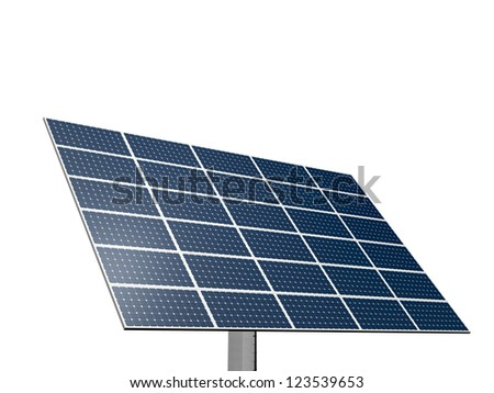 Solar panel system for alternative green energy, isolated on white background.