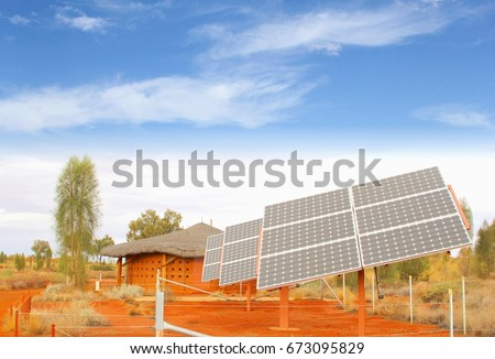 Solar panel system, green energy production in desert, Africa