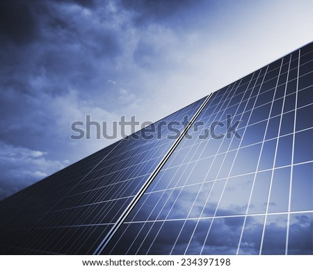 Solar Panel under a stormy sky