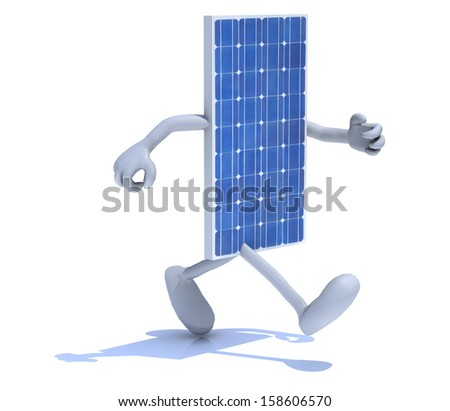 solar panel with arms and legs that running, 3d illustration - stock photo