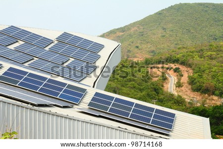 Solar panel with blue sky - stock photo