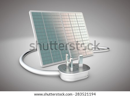 Solar panel with electrical plug connected to it. Concept for alternative power supply and green energy in a world where new energy sources are needed. - stock photo