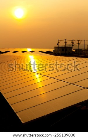 Solar Panel with Sun - stock photo