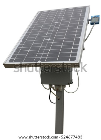 Solar panel with the equipment rack and cables isolated over white background