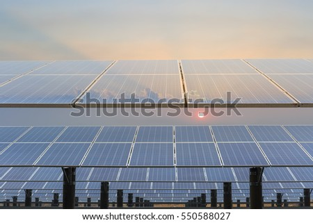 solar panels against a dusk sky  ,renewable energy background