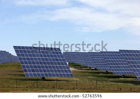 Solar panels alternative energy power station - stock photo