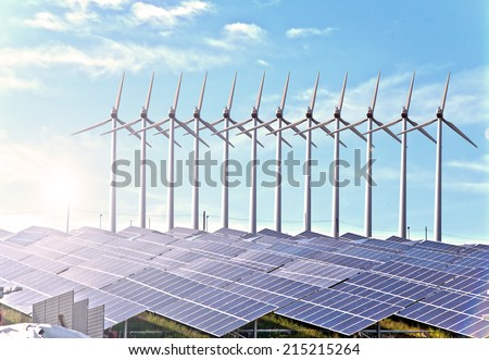 solar panels and aerogenerators - stock photo
