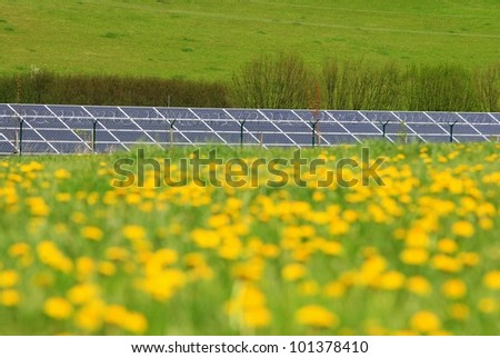 solar panels and meadow with dandelions - stock photo