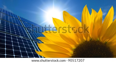 Solar panels and Sunflower against a sunny sky - stock photo