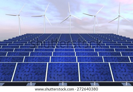 Solar panels and wind generators against sunset sky - stock photo