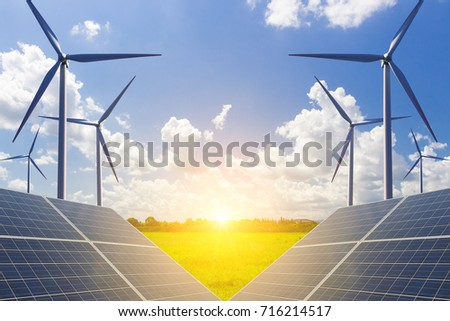 Solar panels and wind turbines solve energy shortages in bright sunlight