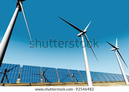 Solar panels and Wind Turbines under blue sky 3D render Energy Concept