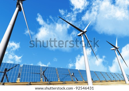 Solar panels and Wind Turbines under cloudy blue sky 3D render Energy Concept - stock photo