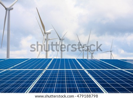solar panels and wind turbines with the clouds and sky, renewable energy